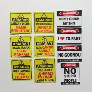 WARNING / AMARAN vinyl stickers