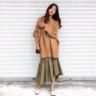 🚚 現貨~寬鬆針織毛衣搭荷葉邊半身裙二件式套裝