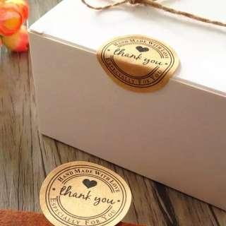 20pcs 'Handmade with Love Thank you' stickers