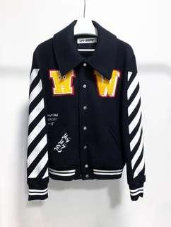 off white baseball jacket