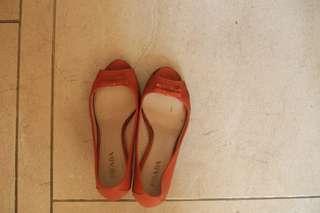 Prada open toe shoes in orange