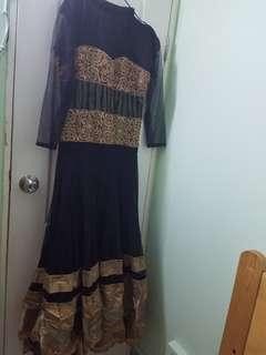 長身裙 red black net dress maxi indian pak