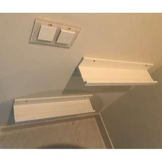12 White Shelves or Picture Rails