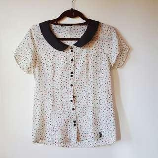 White patterned polo