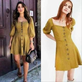 🍃Yellow Button down Semi Puff Sleeve Dress