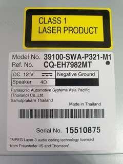 Unused Honda CRV 2012 car audio player