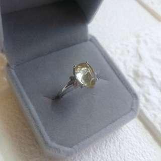 #sellfaster 👑Natural Crystal Rutilated Quartz Ring  Gemstone size: 7.2x10.8mm 👑天然金髮晶水晶戒指