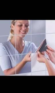 Square reflective mirror decal wall sticker