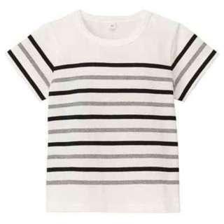 🚚 朵拉媽咪 【全新 無印良品】童裝 MUJI 有機棉寬紋 短袖T恤 條紋 80CM  男童 女童