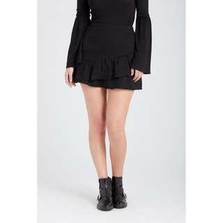 🚚 【全新】現貨 澳洲 專櫃品牌 SUPRE 黑色 棉質 荷葉裙 彈性短裙 黑色短裙 黑色棉裙 短裙 裙 迷你裙