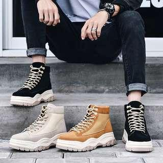 Men's British Style Lace Up High Cut Boots 🥾