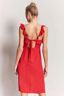 FOREVER 21 Red Ruffled Cutout Dress