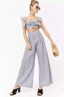 FOREVER 21 Pinstriped Linen Palazzo Pants