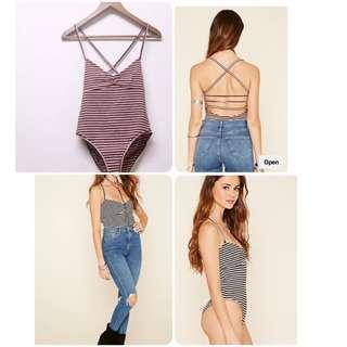 BMWOT Forever 21 strappy striped bodysuit in maroon and blush pink