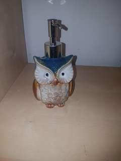 Beautiful ceramic owls soap dispenser