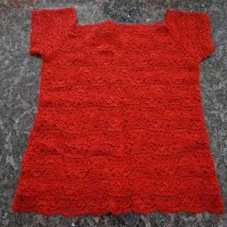🚚 Preloved Short Sleeve Red Lace Top