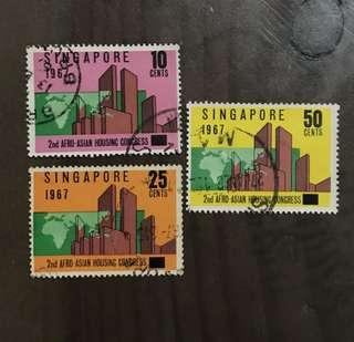 Singapore stamps 1967 Afro Housing issue 3v used