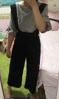 高腰滑面合身吊帶褲裙