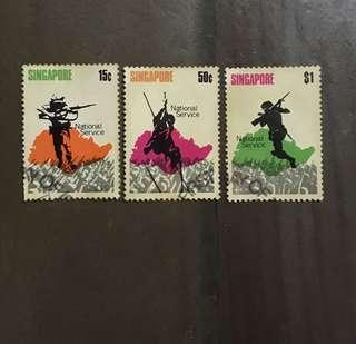 Singapore stamps 1970 National Day soldiers 3v Used CTO