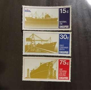 Ship Series Singapore stamps 1971 3v mint toned