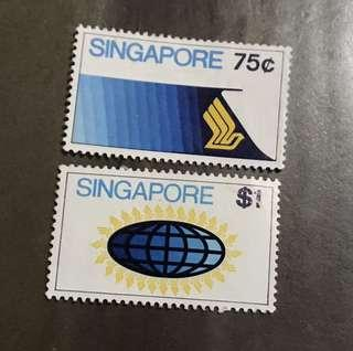 Singapore stamps Airline 2v High Value (surface fault) mint