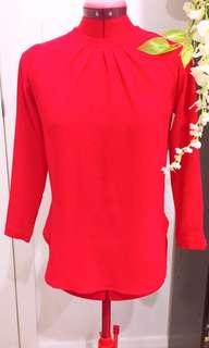 Red Long Sleeved Blouse