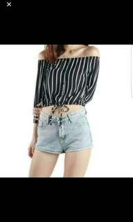 brand new with tag TTR off shoulder stripes top