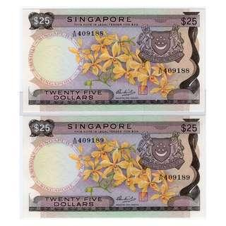 Singapore Orchid $25 Banknotes 409188 - 409189