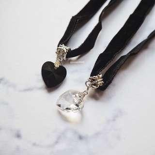 Choker heart kalung pendant charms