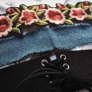 Kalung choker name embroidery lace