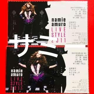 安室奈美惠 namie amuro LIVE STYLE 2011 ピクチャーチケット