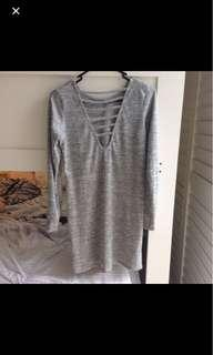 Caged Back Gray Dress