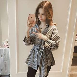 Striped Blouse With Round