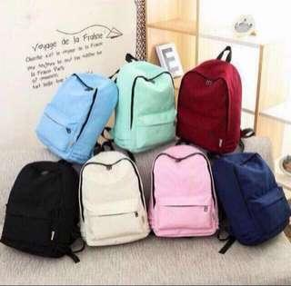 [RS] Plain Canvas Backpack