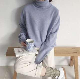 【正韓實拍】紫羅蘭高領針織毛衣