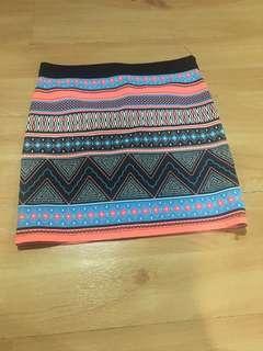 zara colored mini bando skirt