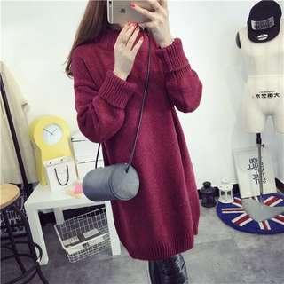 💜高領毛衣💜中長款寬鬆加厚冬季毛衣裙打底衫