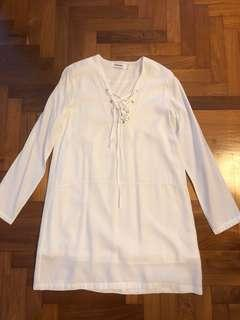 The Editors Market TEM- Long Sleeves White Top or Dress - Date/ Casual