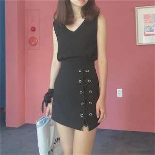 💜短裙💜 顯瘦 綁帶短裙A字半身包臀裙