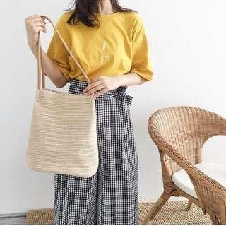 RATTAN Inspired Summer Weave Woven Tote Bag