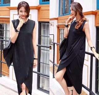 Black cotton slit dress