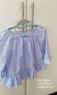 Brand New light blue ruffles sleeve top.. price reduced to go