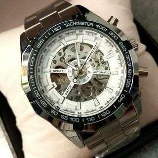 全自動銀鋼機械陀飛輪鋼帶手錶(聖誕節禮物) Original Brand New Automatic Silver Steel Machinery Tourbillon Stainless Steel Watch(Christmas Gift)