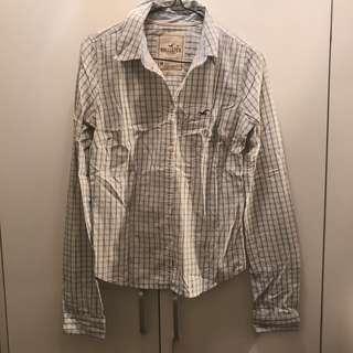 Hollister Checked shirt blue white school girl style 格仔恤衫 白色 藍色