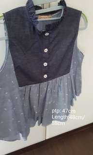 Brand new denim blue frills top.. price reduced to go