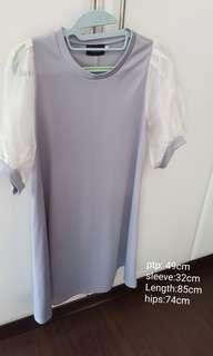 Grey organza sleeve dress.. price reduced to go