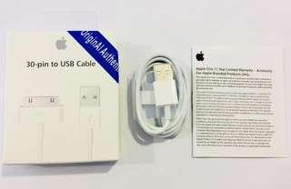 "Apple 30 pin charger for Iphone 4s Ipad 1 2 3""With warranty"""