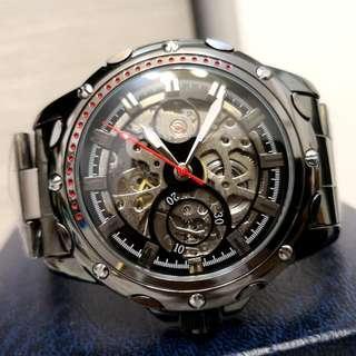 全自動黑鋼陀飛輪機械鋼帶手錶(聖誕節禮物) Original Brand New Automatic Black Steel Tourbillon Mechanical Stainless Steel Watch(Christmas Gift)