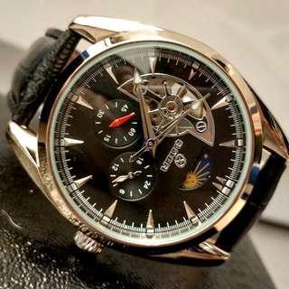 全自動銀鋼機械陀飛輪真皮手錶(聖誕節禮物) Original Brand New Automatic Silver steel Mechanical Tourbillon Genuine Leather Watch(Christmas Gift)