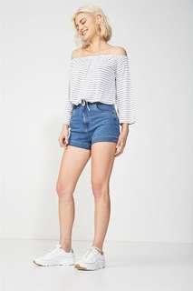 co high rise denim shorts